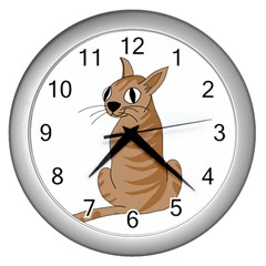 Brown Cat Wall Clocks (silver)  by Valentinaart