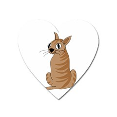 Brown Cat Heart Magnet by Valentinaart