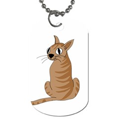 Brown Cat Dog Tag (one Side) by Valentinaart