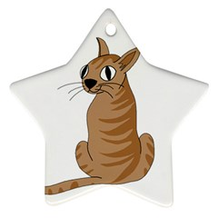 Brown Cat Star Ornament (two Sides)  by Valentinaart
