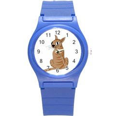 Brown Cat Round Plastic Sport Watch (s) by Valentinaart
