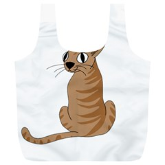 Brown Cat Full Print Recycle Bags (l)  by Valentinaart