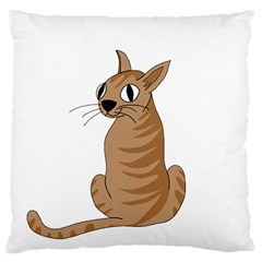 Brown Cat Large Flano Cushion Case (two Sides) by Valentinaart