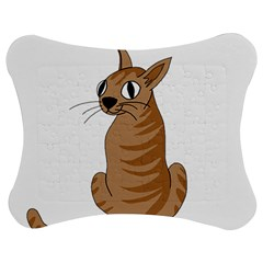 Brown Cat Jigsaw Puzzle Photo Stand (bow) by Valentinaart