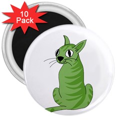 Green Cat 3  Magnets (10 Pack)  by Valentinaart