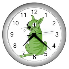 Green Cat Wall Clocks (silver)  by Valentinaart