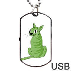 Green Cat Dog Tag Usb Flash (two Sides)  by Valentinaart