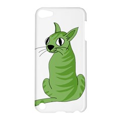Green Cat Apple Ipod Touch 5 Hardshell Case by Valentinaart