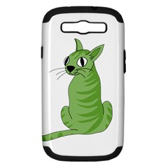 Green Cat Samsung Galaxy S Iii Hardshell Case (pc+silicone) by Valentinaart