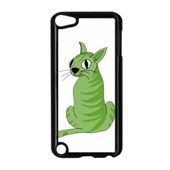 Green Cat Apple Ipod Touch 5 Case (black) by Valentinaart