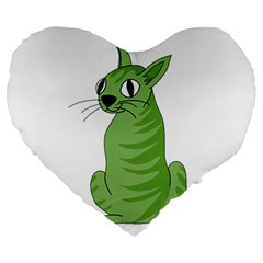 Green Cat Large 19  Premium Heart Shape Cushions by Valentinaart
