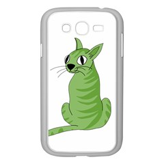 Green Cat Samsung Galaxy Grand Duos I9082 Case (white) by Valentinaart