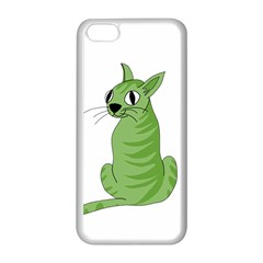 Green Cat Apple Iphone 5c Seamless Case (white) by Valentinaart