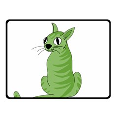 Green Cat Double Sided Fleece Blanket (small)  by Valentinaart