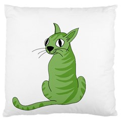 Green Cat Large Flano Cushion Case (one Side) by Valentinaart
