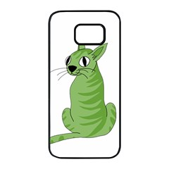 Green Cat Samsung Galaxy S7 Edge Black Seamless Case by Valentinaart