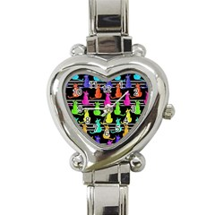 Colorful Cats Pattern Heart Italian Charm Watch by Valentinaart