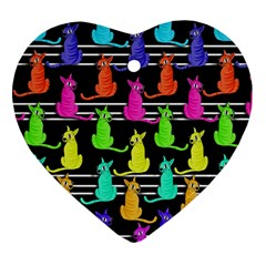 Colorful Cats Pattern Heart Ornament (2 Sides) by Valentinaart