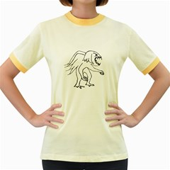 Monster Bird Drawing Women s Fitted Ringer T Shirts by dflcprints