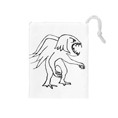 Monster Bird Drawing Drawstring Pouches (medium)  by dflcprints