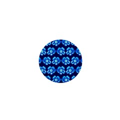 Turquoise Blue Flower Pattern On Dark Blue 1  Mini Buttons by Costasonlineshop