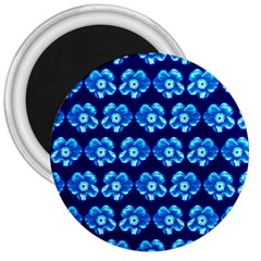 Turquoise Blue Flower Pattern On Dark Blue 3  Magnets