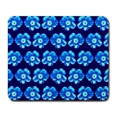 Turquoise Blue Flower Pattern On Dark Blue Large Mousepads
