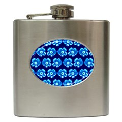 Turquoise Blue Flower Pattern On Dark Blue Hip Flask (6 Oz)