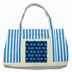 Turquoise Blue Flower Pattern On Dark Blue Striped Blue Tote Bag by Costasonlineshop