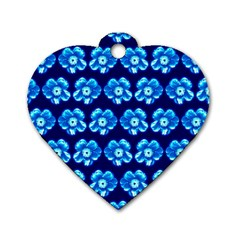 Turquoise Blue Flower Pattern On Dark Blue Dog Tag Heart (one Side)