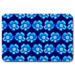 Turquoise Blue Flower Pattern On Dark Blue Large Doormat