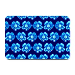 Turquoise Blue Flower Pattern On Dark Blue Plate Mats