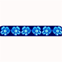 Turquoise Blue Flower Pattern On Dark Blue Small Bar Mats