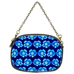 Turquoise Blue Flower Pattern On Dark Blue Chain Purses (one Side)