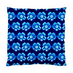 Turquoise Blue Flower Pattern On Dark Blue Standard Cushion Case (one Side)