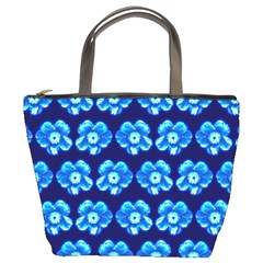 Turquoise Blue Flower Pattern On Dark Blue Bucket Bags by Costasonlineshop