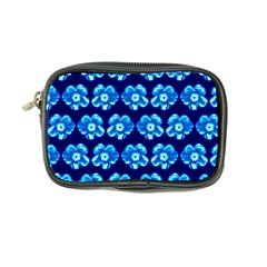 Turquoise Blue Flower Pattern On Dark Blue Coin Purse by Costasonlineshop