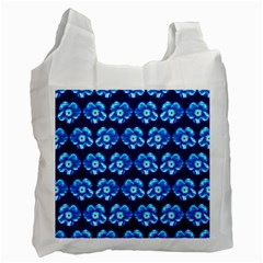 Turquoise Blue Flower Pattern On Dark Blue Recycle Bag (one Side) by Costasonlineshop