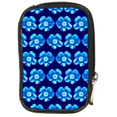 Turquoise Blue Flower Pattern On Dark Blue Compact Camera Cases