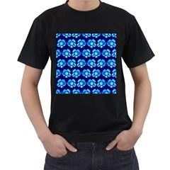 Turquoise Blue Flower Pattern On Dark Blue Men s T-Shirt (Black) by Costasonlineshop