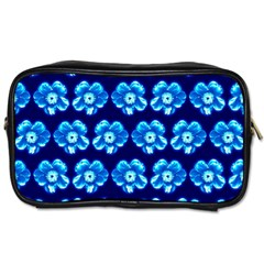 Turquoise Blue Flower Pattern On Dark Blue Toiletries Bags by Costasonlineshop