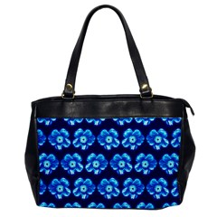 Turquoise Blue Flower Pattern On Dark Blue Office Handbags
