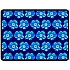 Turquoise Blue Flower Pattern On Dark Blue Fleece Blanket (large)  by Costasonlineshop