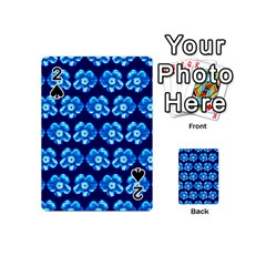 Turquoise Blue Flower Pattern On Dark Blue Playing Cards 54 (mini)