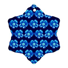Turquoise Blue Flower Pattern On Dark Blue Ornament (Snowflake)  by Costasonlineshop
