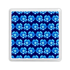Turquoise Blue Flower Pattern On Dark Blue Memory Card Reader (square)  by Costasonlineshop