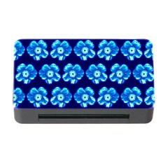 Turquoise Blue Flower Pattern On Dark Blue Memory Card Reader With Cf
