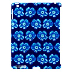 Turquoise Blue Flower Pattern On Dark Blue Apple Ipad 3/4 Hardshell Case (compatible With Smart Cover)