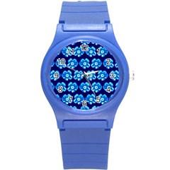 Turquoise Blue Flower Pattern On Dark Blue Round Plastic Sport Watch (s) by Costasonlineshop