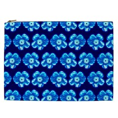 Turquoise Blue Flower Pattern On Dark Blue Cosmetic Bag (xxl)